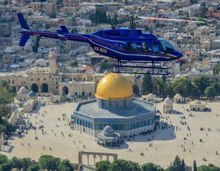 Helicopter flight over Jerusalem